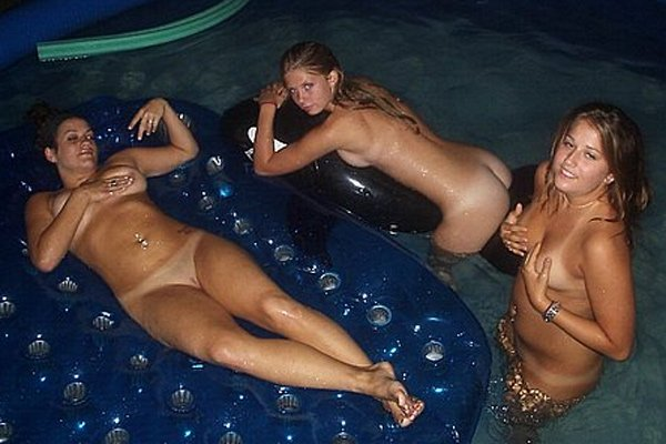 three girls in the pool